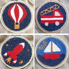 motifs aventurier montgolfière camion pompier fusée bateau kit complet punch needle