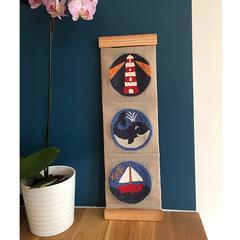 motif mer baleine phare bateau kit complet punch needle idée cadeau garçon fille décoration chambre enfant